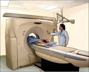 Daganatos beteg sugárterápia közben.