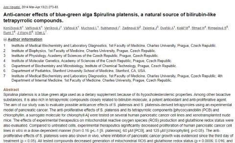 spirulina orvosi kutatások